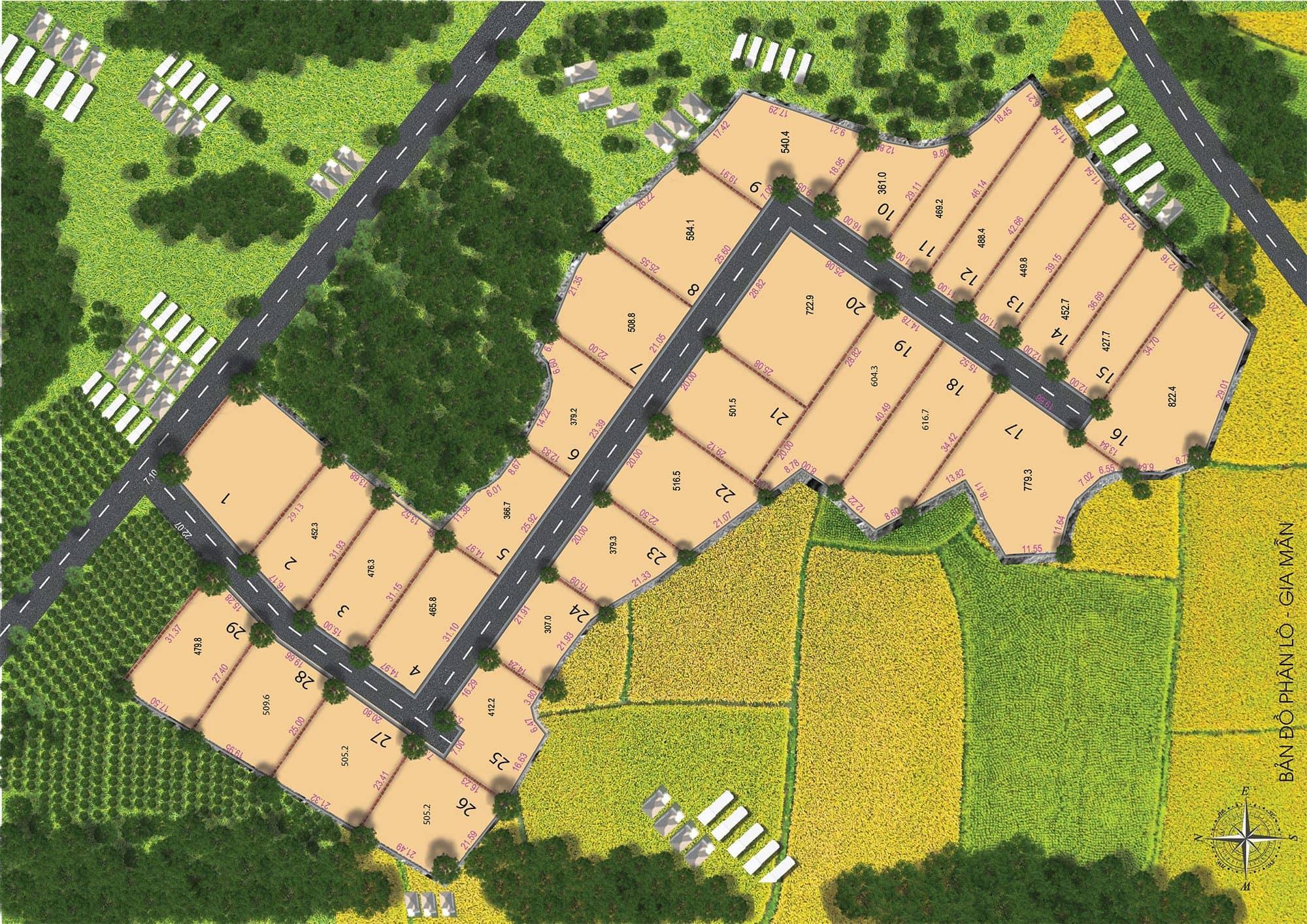 Mặt bằng Dự án nhà vườn sinh thái Garden House 1