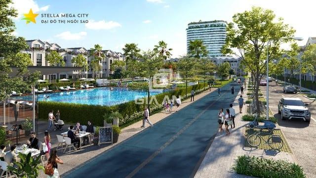 Không gian sống xanh kết hợp nhiều tiện ích tại Stella Mega City