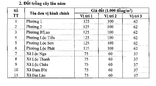 Bảng giá đất Bảo Lộc - 2