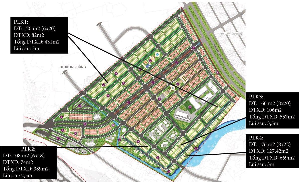 Mặt bằng vị trí căn và các loại diện tích của nhà phố liên kế trong khu đô thị.