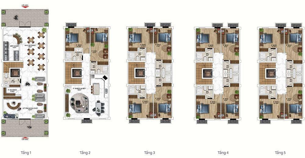 Mặt bằng mẫu thiết kế công năng gợi ý cho loại khách sạn.