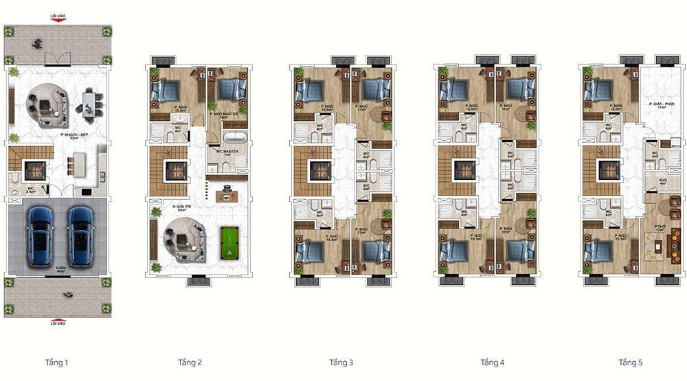 Mặt bằng mẫu thiết kế công năng gợi ý cho loại nhà ở.