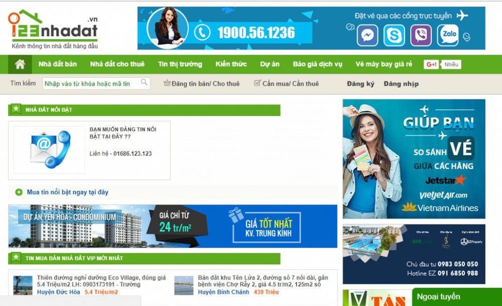 trang web bất động sản hàng đầu