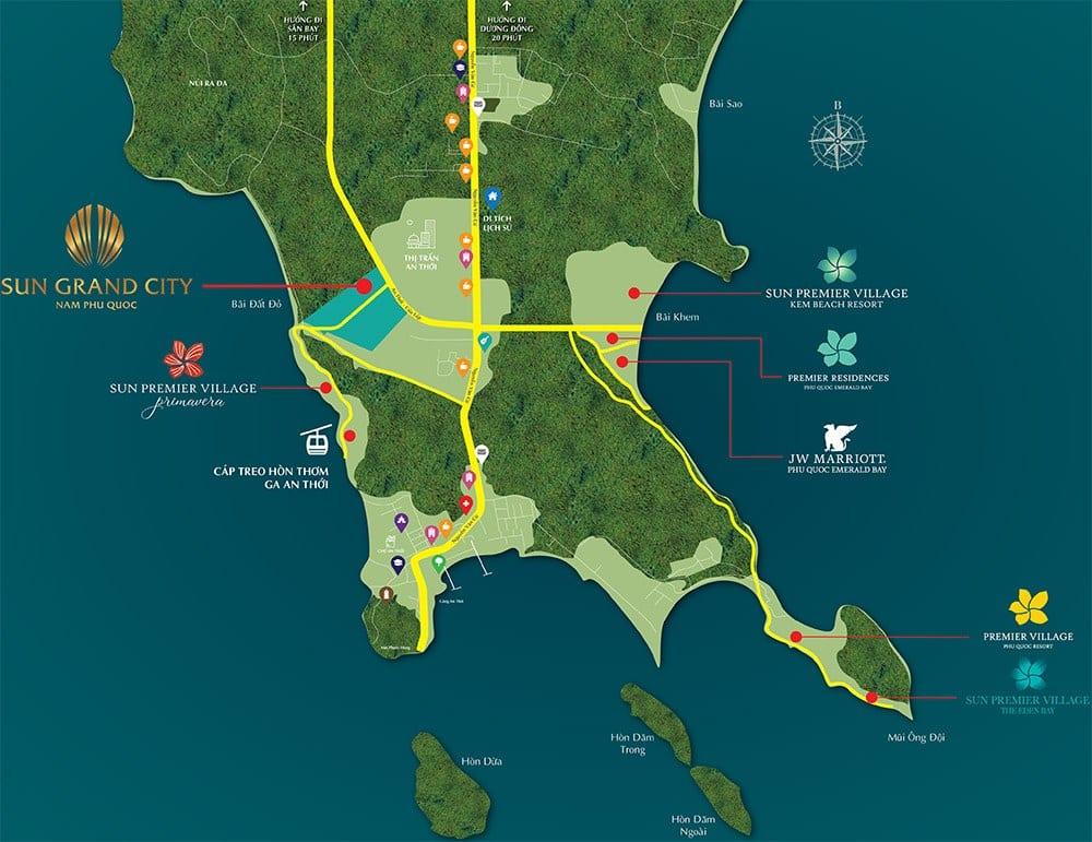 Vị trí dự án Sun Grand City New An Thới tại Nam Đảo Phú Quốc.