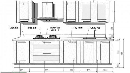 Kích thước tủ bếp cần phù hợp với chiều cao của người sử dụng