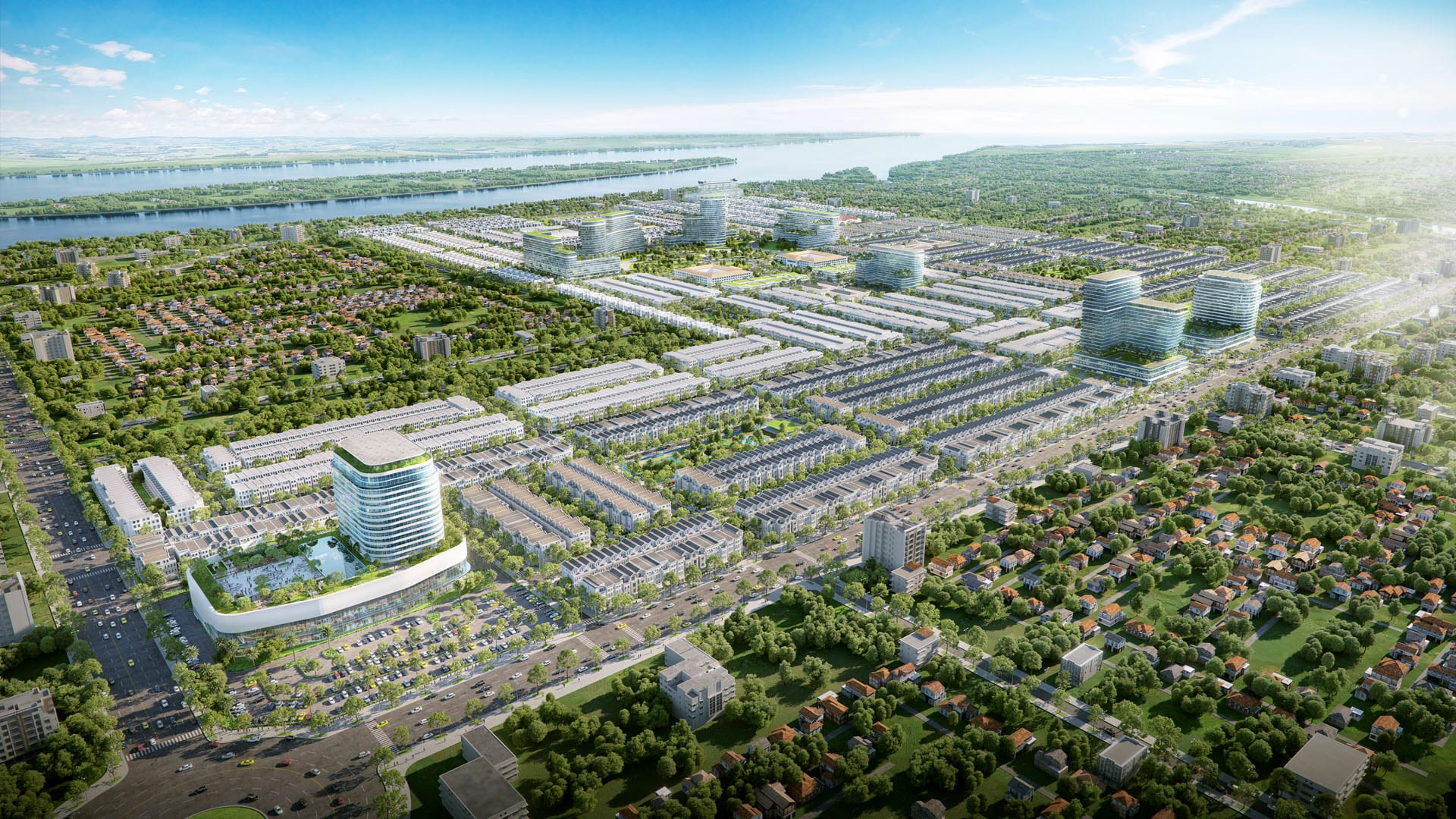 Hệ thống công viên cây xanh ôm trọn dự án